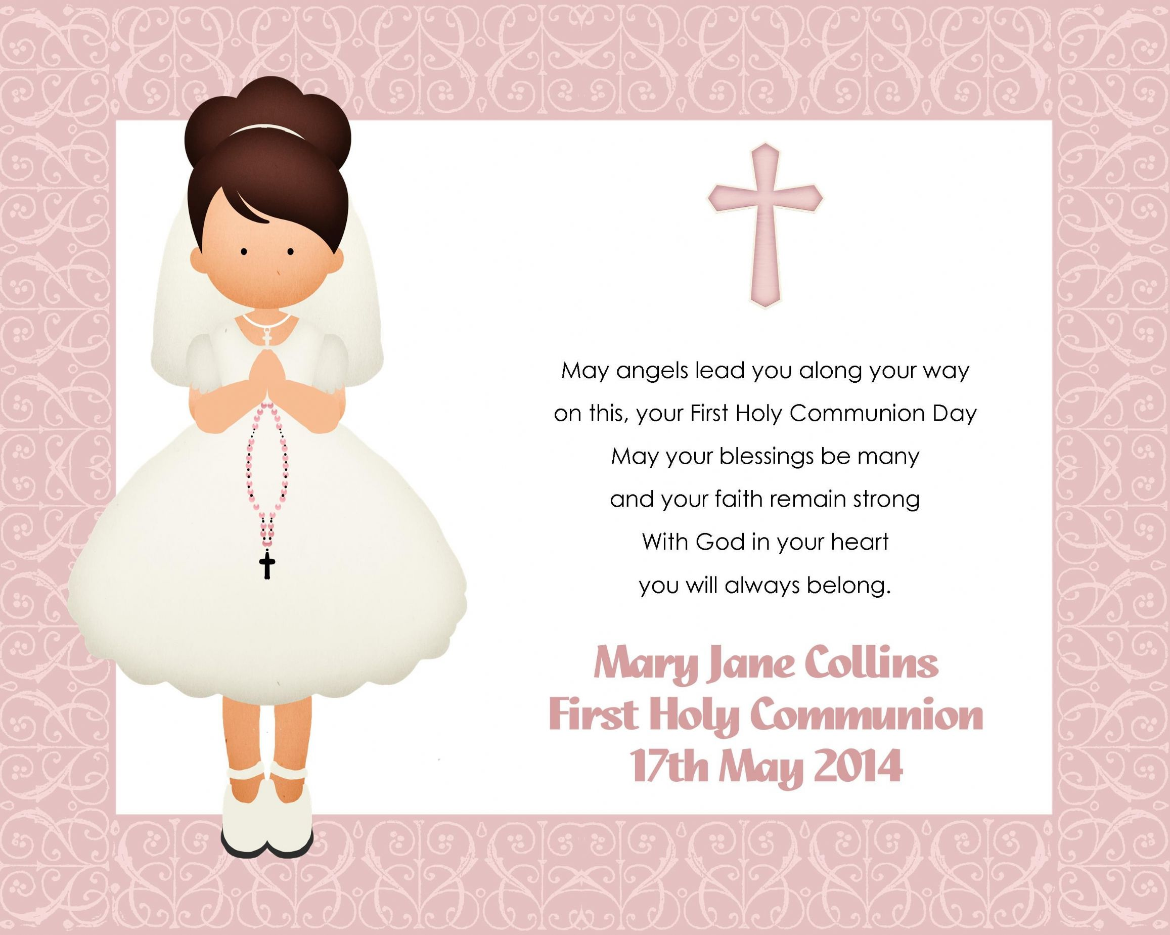 photograph relating to First Holy Communion Cards Printable Free named Personalized Gals To start with Holy Communion Print